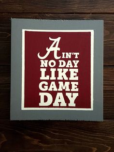 Get ready for football season with this Alabama adhesive vinyl decal! Aint No Day Like Game Day!  Perfect to make a sign for your living room, bedroom, man cave, office, game room...any room!!  Sizes are approximate!!  Each decal comes with transfer paper to make transferring easy!  *The Tigers Trunk is not responsible for mishaps during the transfer process.  *Indoor use only.  *Coupon codes may be used when available. However, the code FREESHIP may ONLY be used on local orders that you…