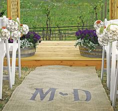 Create a Rustic Wedding Ceremony with a Personalized Burlap Vineyard Monogram Aisle Runner. Available in 8 ink color options to compliment your wedding theme.