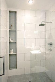 Shower storage inserts between studs