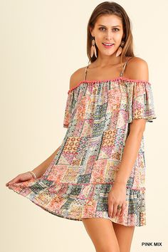 9ffb060b578ef4 Umgee Pink mix Women s Off Shoulder Print Dress