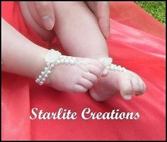 Picture 4 of 8 Baby Sandals, Bare Foot Sandals, Baby Barefoot Sandals, Baby Blessing Dress, Crochet Adult Hat, Newborn Photo Props, Baby Feet, Christening, Baby Knitting