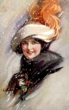 FASHIONABLE WINTER BELLE with FEATHERS in SNOW OLD PC