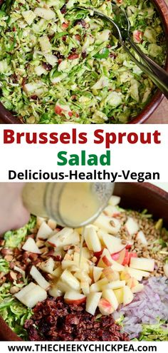 Brussels Sprout Salad! raw shredded brussels sprouts with dried cranberries, crisp apples, smoked almonds, tossed in a simple delicious sweet & tangy maple mustard vinaigrette! Naturally vegan. Perfect side salad for lunch, fall and the holidays, anytime. Serve cold. Bon appetite! #recipes #cheeky_chickpea_ #veganrecipes #glutenfree #easy #best #dressing Shredded Brussel Sprouts, Brussel Sprout Salad, Sprouts Salad, Brussels Sprouts, Salad Recipes Holidays, Vegan Feta Cheese, Chopped Salad Recipes, Eating Raw, Clean Eating