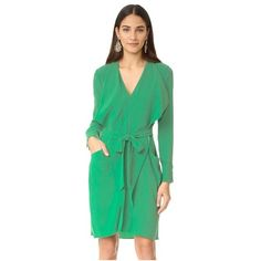 BCBGMAXAZRIA Mikhaela V Neck Dress ($250) ❤ liked on Polyvore featuring dresses, kelly green, bcbgmaxazria dress, tie dress, green long sleeve dress, v neckline dress and longsleeve dress