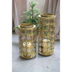Kalalou Round Old Gold Lanterns - Set Of 2