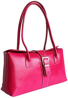 Buckle Lock Bright Pink Leather Shoulder Bag - Down to £49.99 from £59.99