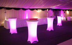 tall tables with lights underneath tablecloth for reception or party - Google Search