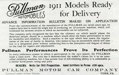 The Pullman Motor Car Company, York, Pa. advanced advertisement bulletin