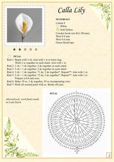 Calla Lily Crochet Flower to make, love this flower! Pattern, 2 More Patterns Like This!