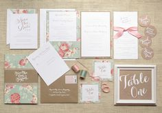 Vintage Floral Cotton Wedding Invitations | http://ohsobeautifulpaper.com/2014/03/vintage-floral-cotton-wedding-invitation-inspiration/