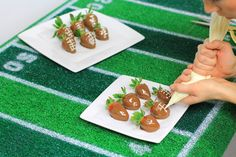 Super Bowl Football Chocolate Covered Strawberries!