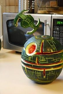 Star Wars Party - cool carved watermelon as death star