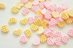 12 pcs Teeny Nail Sized Heart Waffle Cookie by misssapporo on Etsy, $3.50
