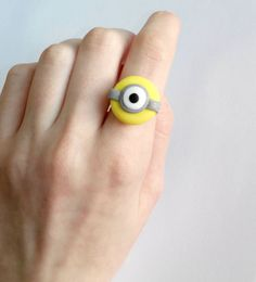 Minion ring despicable me one-eye polymer clay fimo by youfimo