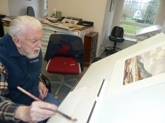 Ron Ranson (English artist, teacher, writer and broadcaster) during one of his painting demos.