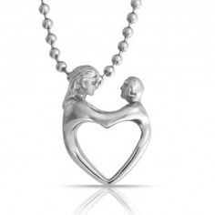 Bling Jewelry Mother Child Heart Pendant Stainless Steel Necklace 18in