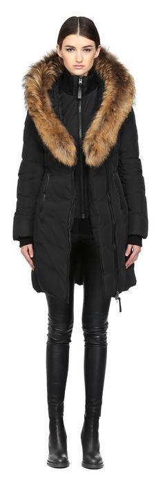 Mackage Kay Long Black Winter Down Coat With Fur Hood