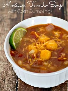 Mexican Tomato Soup with Corn Dumplings - an easy meatless soup that is perfect for Lent. #JustAddRotel #ad