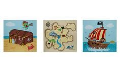 Fantasy Fields Pirates Island Wooden Wall Art Set - Kids and Nursery Wall Art at Hayneedle