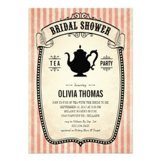 Vintage Bridal Shower Tea Party Invitations | Created By UniqueInvites