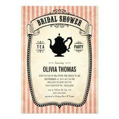Vintage Bridal Shower Tea Party Invitations | Created By UniqueInvites