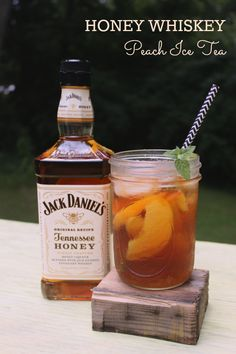 Honey Whiskey Peach Ice Tea. Made with Peach Simple Syrup with The Peach Truck peaches. Perfect for a 4th of July BBQ!