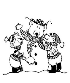 Have fun this winter by adding some color to these cute snow bears!