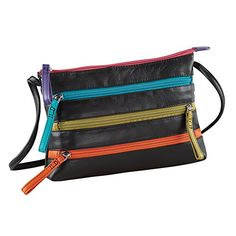 Leather Zipper Cross-body Handbag (Black Brights) >>> Want additional info? Click on the image.