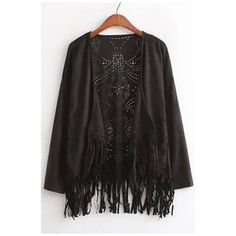 Laser Cutwork Tassel Patchwork Suede Batwing Cape (275 ARS) ❤ liked on Polyvore featuring outerwear and cape coat
