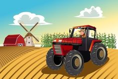 A vector illustration of a farmer riding a tractor working in his farm
