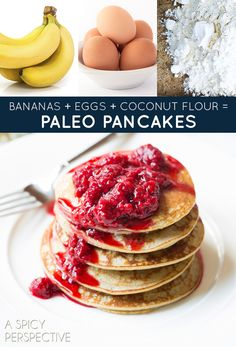 bananas + eggs + coconut flour = paleo pancakes. Also gluten-free, but also delicious for everyone. Get the recipe. | Three-Ingredient Recipe