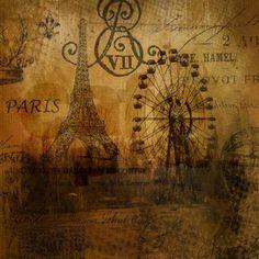 vintage paris eiffel tower scripts Shower Curtain on CafePress.com