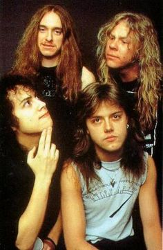 "METALLICA - looks like James is thinking ""If you've got something to say, Kirk, just say it!"""