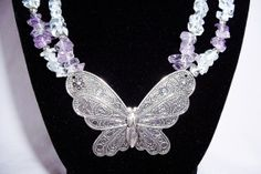 LOVE THIS!!!  Beautiful Beaded Butterfly Necklace and by DavisDazzlingDesigns, $45.00