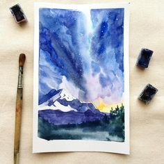 """Любимое ночное небо ☄#watercolor #art #artist #artwork #instaart #inspiration #illustration #illustrator #lilya_mht_illustration #picture #drawing #sky"""