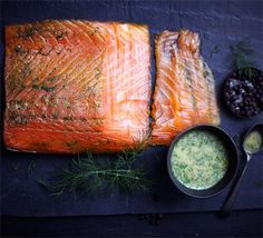 Gravadlax - an easy way to cold cure your own salmon. Use organic or wild caught salmon, not farm raised. Gravadlax is a delicious appetizer or summer lunch idea Smoked Fish, Smoked Salmon, Creamy Fish Pie, Hidden Vegetables, Salmon Recipes, Fish Recipes, Salmon Food, Bbc Good Food Recipes, Yummy Food