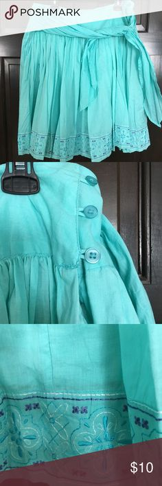 Turquoise circle skirt I am cleaning my closet out and have tons of cute shorter skirts.  Still so cute but not right for my job or my age 😊.    This one is about knee length fuller circle skirt.  Lined.  Pretty embroidered edge. Very gently worn George Skirts Circle & Skater