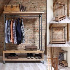 Nene Industrial Style Wooden Metal Clothes Rail Rack Stand Rustic Retro Vintage Industrial Style Clothing Storage Unit This clothing unit has a great industrial look and simple stylish storage solution for hanging clothes and. Vintage Industrial Furniture, Industrial Interiors, Industrial Chic, Industrial Closet, Industrial Storage, Industrial Bedroom, Industrial Clothes Rail, Industrial Wallpaper, Industrial Bookshelf