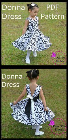 Donna Dress for Girls 12M-12Y PDF Pattern & Instruction-crisscross front-low back-circle skirt-big bow #ad #pattern #sewing #sewingpattern #sewingtutorial #sewingprojects #dress #dresspattern #kids #kidsfashion #dresstoimpress #babyclothes #kidsclothes #fashion #fashioninspiration #fashionistas #diy #diyproject