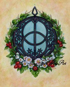 Chalice Well and Rowan Tree print by artist Jane by JaneStarrWeils