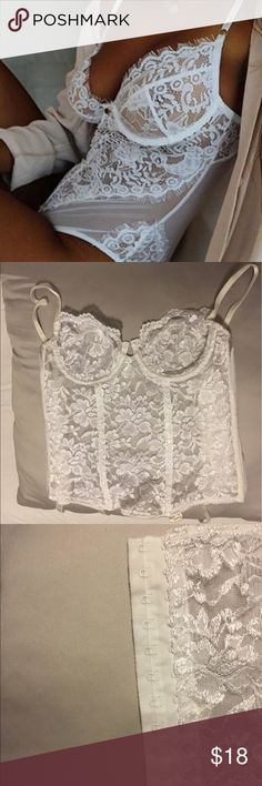 ❤️FLASH SALE❤️ Victoria Secret White Lace Corset This corset is absolutely stunning. Has no sings of any wear. No tears or discoloration to the lace. It does have a two set clamp for preferred tightness. Has four straps to clip on to any thigh highs. Price firm. Bundle for discounts. Feel free to ask any questions :-) Victoria's Secret Intimates & Sleepwear