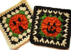 This pattern has been in my bookmarks since before I even joined Ravelry. So I decided to forego my typical BAMCAL colors (for now) and start the Halloween-flavored afghan that I envisioned so lon. Crochet Pumpkin, Crochet Fall, Holiday Crochet, Easy Crochet, Double Crochet, Knit Crochet, Halloween Crochet Patterns, Granny Square Crochet Pattern, Crochet Squares