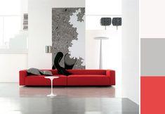Paletta colori per arredare con un divano rosso e i toni del grigio. All About Italy, Sofa, Couch, Love Seat, Inspiration, Zentangle, Doodle, Furniture, Design