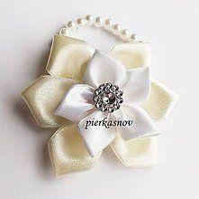 Pierka - Náramok pre družičku bielo - krémový - 5140331_