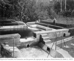 1893 - Represa do Toucinho, na Cantareira, um dos pontos de captação de águas para abastecimento da cidade. Foto de P. Doumet. Acervo do Instituto Moreira Salles.