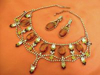 Vintage demi parure necklace and earrings style Czech crystals by DUVRAIFAUX vintage