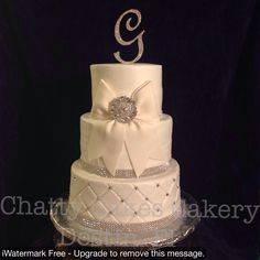 Quilted Buttercream Bling Wedding Cake