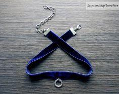 Dark blue choker, velvet choker, navy blue choker, gothic choker, silver ring choker, gothic necklace, velvet necklace, silver ring necklace by IvoryFern on Etsy