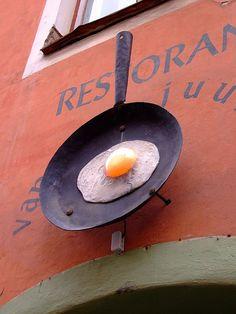 Nothing speaks breakfast more than signage like this! restaurant in Tallinn, Estonia