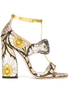 607ad5d1c99 Gucci Floral Element Sandals - Farfetch. Black Block Heel ...